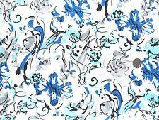 Modern flower fabric Blue Turq. on white 1 metre 100% Cotton F2239B Dress fabric