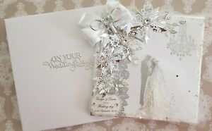 """Large Wedding Personalised card Handmade""""8x8"""" stunning card and gift boxed"""