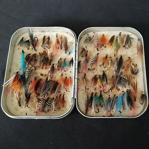 Vintage Richard Wheatley foam fly box containing 88 Salmon and Sea trout flies.