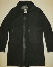 G-Star raw men`s OREGON TRENCH jacket long raincoat nylon black leather trim S