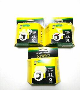 Lot of 3 HP 92 Generic Replacement For HP92 Black Ink Cartridge Expired