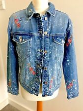 Women ONLY Denim Jeans Jacket Distress Floral Embroider 100% Cotton Small 50%Off