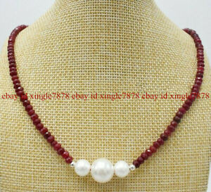 Natural 2x4mm Faceted Red Ruby Rondelle Gems & White Shell Pearl Necklace 20''