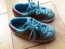 ADIDAS Originals Amburgo Ragazzi Ragazze Bambino Sneaker UK 10 Blue & Red Retrò