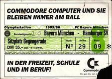 Ticket BL 85/86 FC Bayern München - Hamburger SV, Sitzplatz Gegengerade