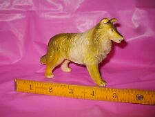 """1974 Imperial Collie no.1222 3.5"""" Tall and 5"""" Long Rubber Toy Hong Kongc(#d78)"""