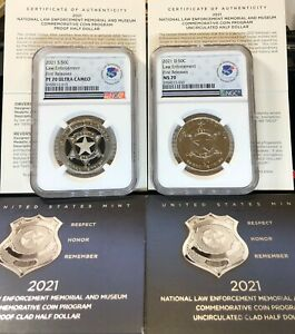 2021 S and D NATIONAL LAW ENFORCEMENT 50c NGC PF70UC and MS70 FIRST RELEASES