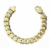 "Gold Curb Bracelet Mens Gents Solid 9 Carat Yellow Gold 8.5"" Flat Bevelled 21gms"