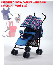 Baby Stroller Pram with 5 Position Seat foot brake and big basket - Blue Colour