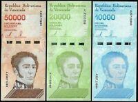 VENEZUELA SET 3 Pcs 10000 20000 50000 BOLIVARES SOBERANO 2019 NEW UNC