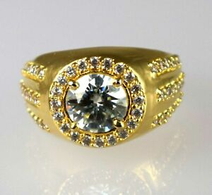 4.49 Ct White Diamond Solitaire Men's Design Gold Finish Ring With Accents