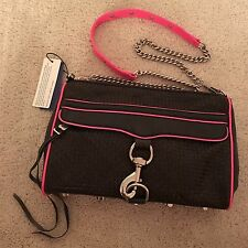 NWT Rebecca Minkoff $350 MAC Medium Woven Black Leather Neon Pink Purse & Strap