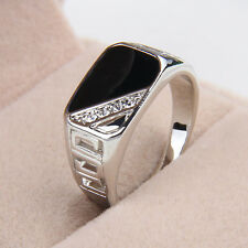 Men Stainless Steel Ring Gemstone Ring Cool Silver Sz 8 9 10 11 12 Black Onyx