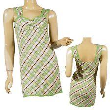 Ladies Top Lime & White Multi Cross Check Lace Trim Strappy Women Blouse.12-14
