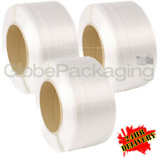 3 x 3000M WHITE MACHINE POLYPROP PALLET STRAPPING COILS REELS 12mm *24HR DEL*
