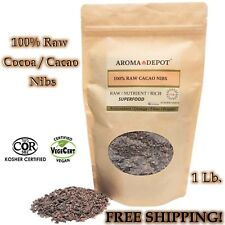 1lb Raw Cacao / Cocoa Nibs Pure Kosher Raw Chocolate Arriba Nacional Bean Pouch