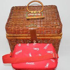 Vintage Coca-Cola Collectible Wicker Picnic Basket w/Coke Logo Lunchbag