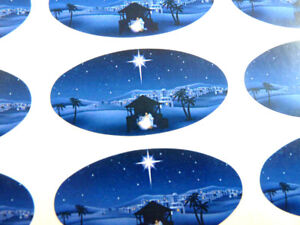 Nativity Scene, Christmas Christian Labels Stickers, Envelope Seals for Cards