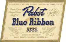 Newark NJ Pabst Blue Ribbon Beer bottle label, IRTP, Long Island City, NY, 1940s