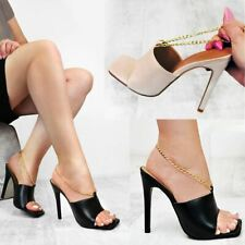 Womens Gold Chain Mules High Heels Sandals Square Toe Fashion Clubbing Shoes