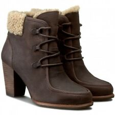 UGG® AUSTRALIA ANALISE BROWN LEATHER HEELED ANKLE BOOTS UK 9.5 EUR 42 RRP £195