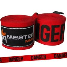 """DANGER RED 180"""" SEMI-ELASTIC HAND WRAPS Meister MMA Handwraps Mexican Boxing NEW"""