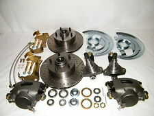 Chevy II Nova Front Disc Brake Conversion Kit Spindles Drilled & Slotted Rotors