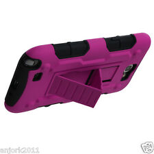 Samsung Galaxy Note II 2 Hybrid C Armor Case Skin Cover w/ Stand Hot Pink Black