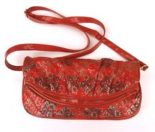 Red & Gold evening day bag  with over the sholder strap