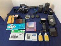Fujifilm Fujica AX-3 35mm SLR Camera Kit - Tonika & Fujinon Lenses & LowePro Bag