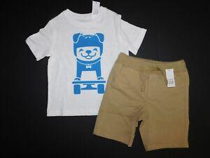 NWT Baby Gap Toddler Boy 2 Pc Set Graphic Dog T-Shirt/Shorts 12-18M 3Yrs/3T New
