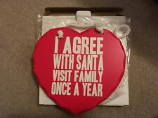 Agree With Santa Christmas Fun Novelty  Heart Wooden Door Plaque Sign