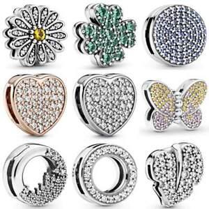 925 Silver Sparkling Dazzling Pave Clip Charm Fits Reflexions mesh bracelets
