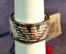EMPORIO ARMANI ETCHED EAGLE STERLING SILVER  RING SIZE 5 EG13170405 #73148-1 DBW