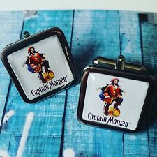 Unique CAPTAIN MORGAN CUFFLINKS chrome DARK RUM novelty MORGANS designer CUFFS