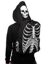 BANNED Gothic Punk Skeleton Skull Ribcage Bones Hooded Backpack Rucksack Bag