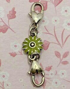 "BRIGHTON ORCHARD Green Flower Custom EXTENDER Bracelet/Necklace Silver 2"""