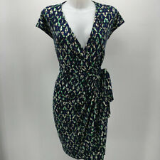 Maggy London Blue Print Short Sleeve Wrap Dress Size 10