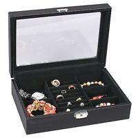 Black Leather Carbon Fiber Jewelry Storage Case Glass Top box Display