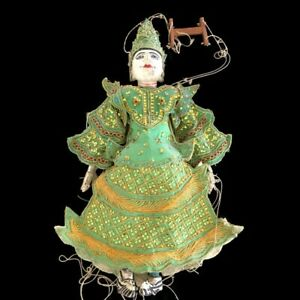 """Burmese Puppet Marionette Wood Doll Asian Hand Rare Crafted Myanmar Vintage 30"""""""