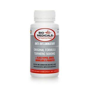 5000mg Turmeric w/ Ginger, Black Pepper, Probiotics 90 Capsules Tablets