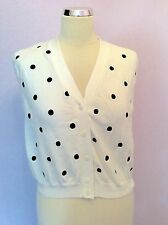 VINTAGE UNITED COLOURS OF BENETTON NAVY BLUE & WHITE SPOT TANK TOP APPROX S/M
