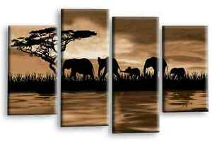 """ELEPHANT CANVAS WALL ART PICTURE SEPIA BROWN SUNSET PRINT MULTI SET 1 44 x 27"""""""