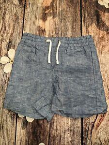 Size 5 Linen material, DENIM color, Janie and Jack Boy's Shorts NWOT