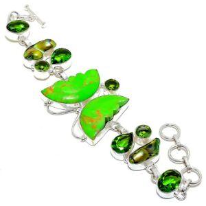 "Butterfly - Copper Green Turquoise Silver Fashion Jewelry Bracelet 7-8"" SB4989"