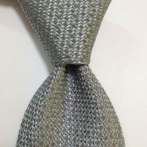 ROBERT TALBOTT Best of Class Men's Silk Necktie Designer Geometric Gray/Blue GUC