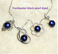 Genuine Freshwater black Pearl Pendant S925 Sterling Silver Necklace lady/Mum