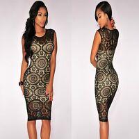 Sz 8 10 Sleeveless Black Lace Bodycon Formal Cocktail Party Slim Sexy Midi Dress