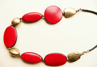 ACCESSORIZE NECKLACE – LARGE RED & BLACK OVAL BEADS & MATT GOLDTONE BEADS – NEW