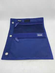 Mead Five Star Blue Pencil Case Pouch 3 Ring Binder Zipper Holders Pouches